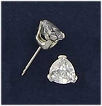 Sterling Silver pierced earring posted cubic Zirconia 6mm by 6mm heart