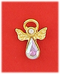 tack pin gold angel with aurora borealis and crystal accent
