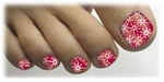 Tiny tips Toenail Art Veneers Splatter Red #4 design