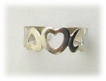 Toe ring silver open heart design