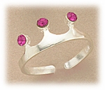 Toe Ring sterling silver crown with pink crystal adjustable