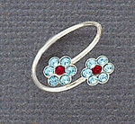 Toe Ring Sterling Silver with Aqua Double Flowers