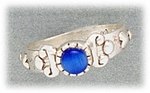Toe Ring sterling silver with blue cats eye adjustable