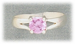 Toe Ring sterling silver with pink prong set  crystal adjustable