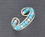 Toe Ring Sterling Silver with Turquoise Beads