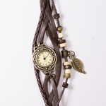 watch antiqued brass face brown leather snap band
