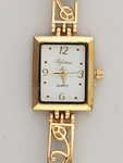 Watch gold rectangle white face with open cut design band