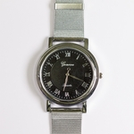 watch silver black round face silver band