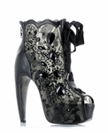 "5 1/2""  Lace and Stone Peep Toe Ankle Boot * BP575-LULA"