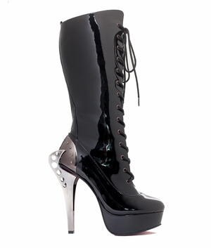 "5"" Knee High Riveted Eyelet Lace-Up Boots * LED"