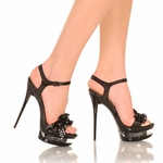 "5"" Micro Stiletto Bow Trim Vamp * DIAMOND-91"