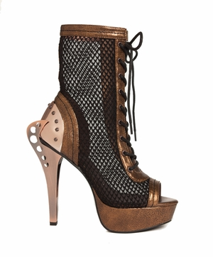 """5"""" Steampunk Ankle Boots With Bronze Metal Heel * SCARLET"""