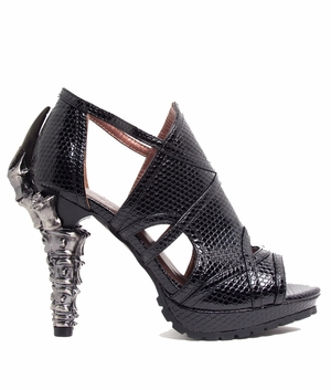 "5"" Textured Vegan Leather Snake Skin Sandals * STELLA"