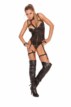 Leather And Fishnet Underwire Teddy * L2162