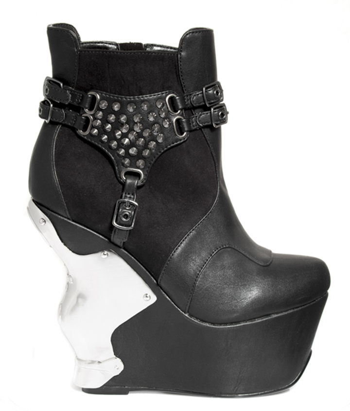 Black Boot With Silver Wedge And Stud Accents * STALLION
