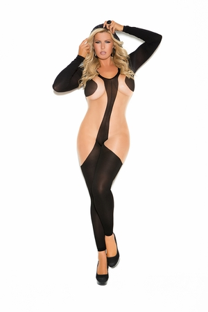 Hooded Long Sleeve Bodystocking * 1643Q