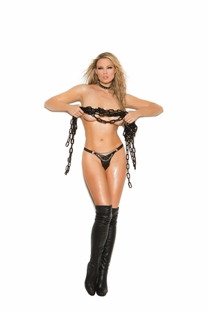 Leather G-String With Rivets * L9778