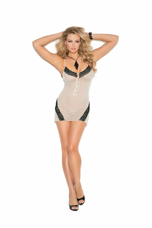 Mesh Chemise with Lace Inserts * 4160