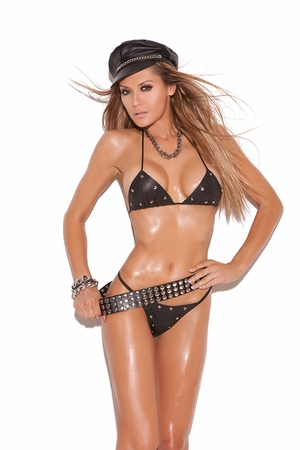 Leather Studded Bra And G-String * L1112