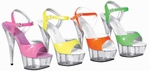 Tony's Shoes 101-NEON, Size 8, Neon Pink/Clear
