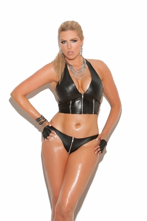 Zip Up Leather Thong * L9203X
