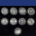 SET OF ALL 8 APOLLO MEDALLIONS - Contains metal flown to the moon on Apollo missions!