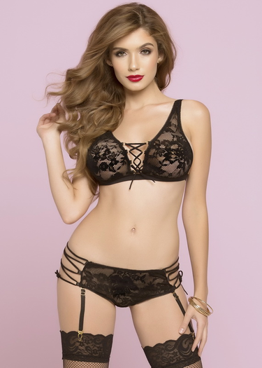 All Night Long Lace Bra & Garter Panty Set