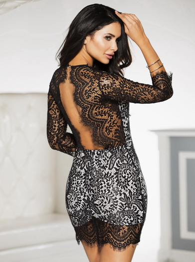 Black Dance With Me Lace Dress