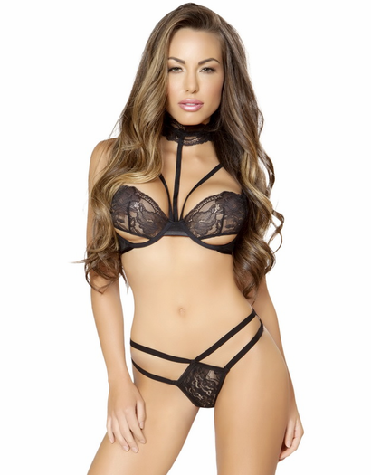 Black Lace Choker Bra & Thong Set
