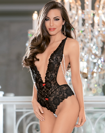 Black Passion Pearls Lace Teddy