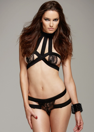 Bondage Black Halter Bra & Lace G-String Set