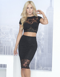 Club Heartthrob Lace Crop Top & Skirt Set