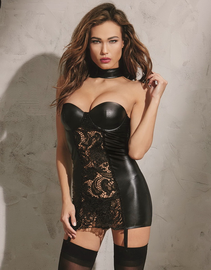 Dark & Tempting Black Wet Look Garter Chemise