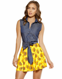 Denim & Sun Flower Flare Dress
