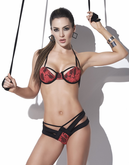 Dirty Rose Lace Bra & Strappy Thong Set