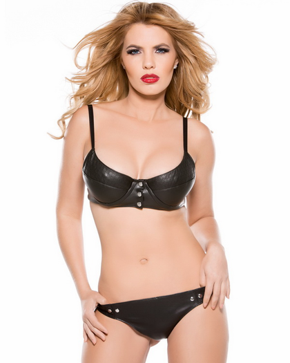 Double Trouble Faux Leather Bra & Panty Set