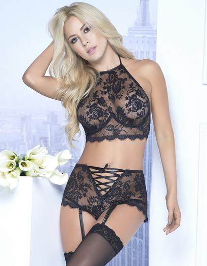 Double Trouble Lace Bra & High Waist Garter Panty Set