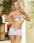 Falling Madly In Love Shelf Bra, Garter Skirt & G-String Set