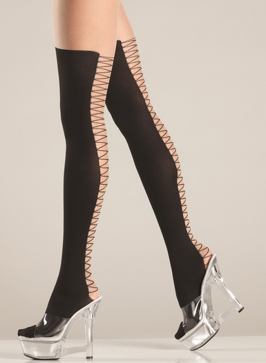 Faux Lace Up Back Pantyhose