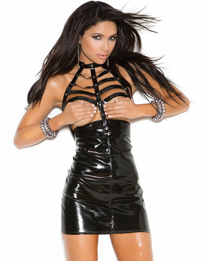 Fetish leather cupless