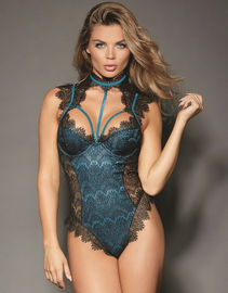 Flaunt It Black Satin Lace Snap Crotch Teddy
