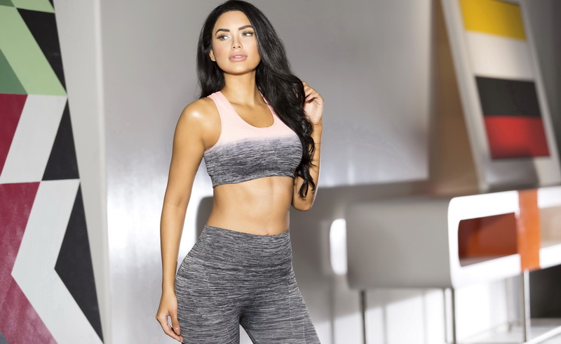 Grey & Pink Ombre Sports Bra