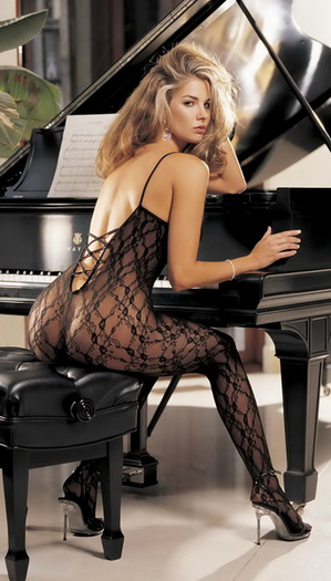 H.O.T. Criss-cross back, open front body stocking