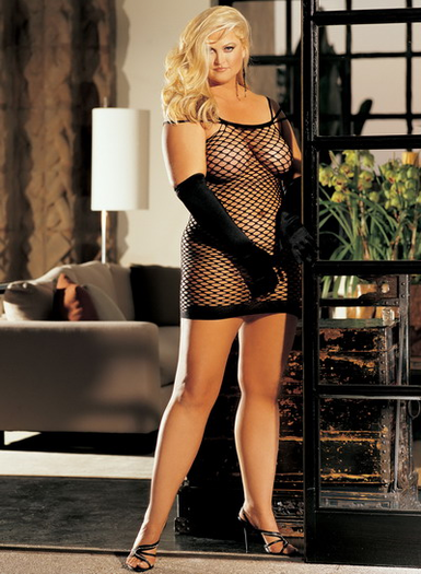 H.O.T. Plus Size BIG HOLE FISHNET DRESS