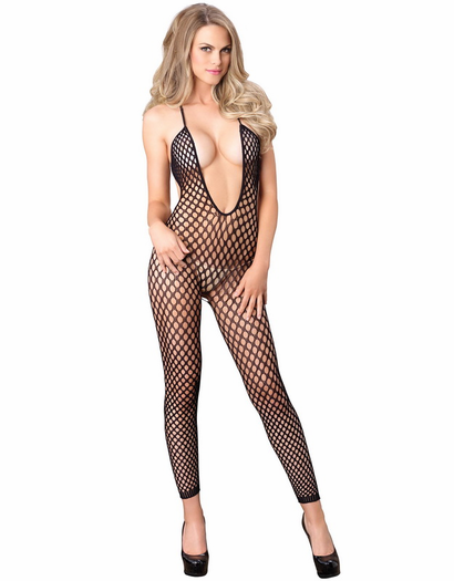 Halter Crochet Net Footless Bodystocking