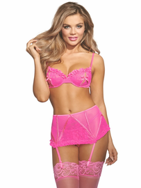 Hot In Pink Split Cup Bra & Garter Skirt Set