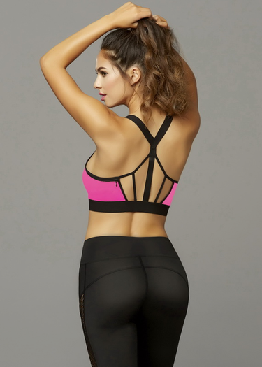 Hot Pink Zipper Sports Bra