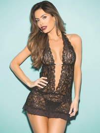 In Deep Lace Chemise & Thong Set