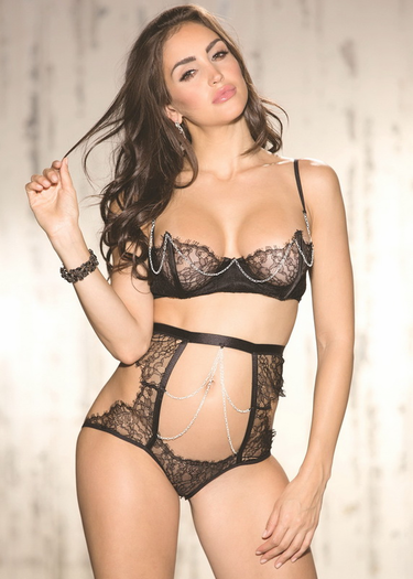 Intricate Black Lace Shelf Bra & High Waist Panty Set