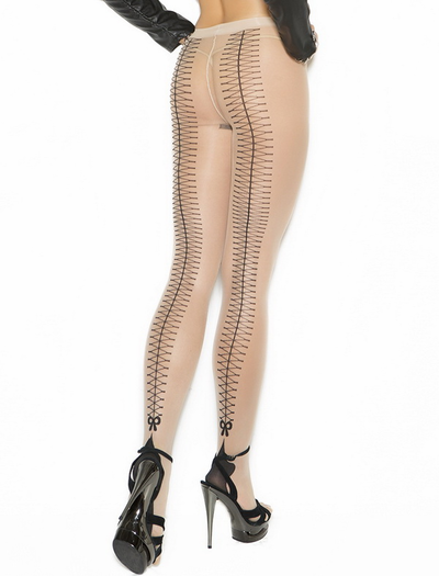 Lace Up Design Pantyhose
